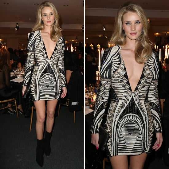 Rosie Huntington-Whiteley in Black and White Minidress
