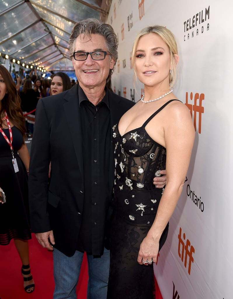 """Kate Hudson and Kurt Russell made quite the stunning duo when they attended the Toronto Film Festival premiere of their movie Deepwater Horizon on Tuesday. Kate looked gorgeous in a sheer black dress, while Kurt kept things simple in jeans and a black blazer. Just before hitting the red carpet, the actress shared a photo of her and her dad cuddled up on Instagram and captioned it, """"Special time sharing this film with my Pa 🙏 #DeepwaterHorizon #TIFF."""" In the film, Kate plays Mark Wahlberg's wife, and Kurt stars as Jimmy Harrell, the offshore installation manager of the rig and one of the real-life survivors of the April 2010 explosion.   The movie marks Kurt and Kate's first time acting together, and during an interview with ET last week, she opened up about what it was like working alongside her dad, saying, """"Growing up watching him work, he's such a pro and I think it was a great lesson for me when I was younger as to what kind of actress I wanted to be and the person on set I wanted to be. I just love everything he's done.""""      Related:                                                                Picture Proof That Kate Hudson Has the Coolest Family in Hollywood                                                                   Kate Hudson and Goldie Hawn's One-of-a-Kind Bond, in Kate's Own Words                                                                   How Kate Hudson Went From Almost Famous to Totally Famous, in Pictures"""