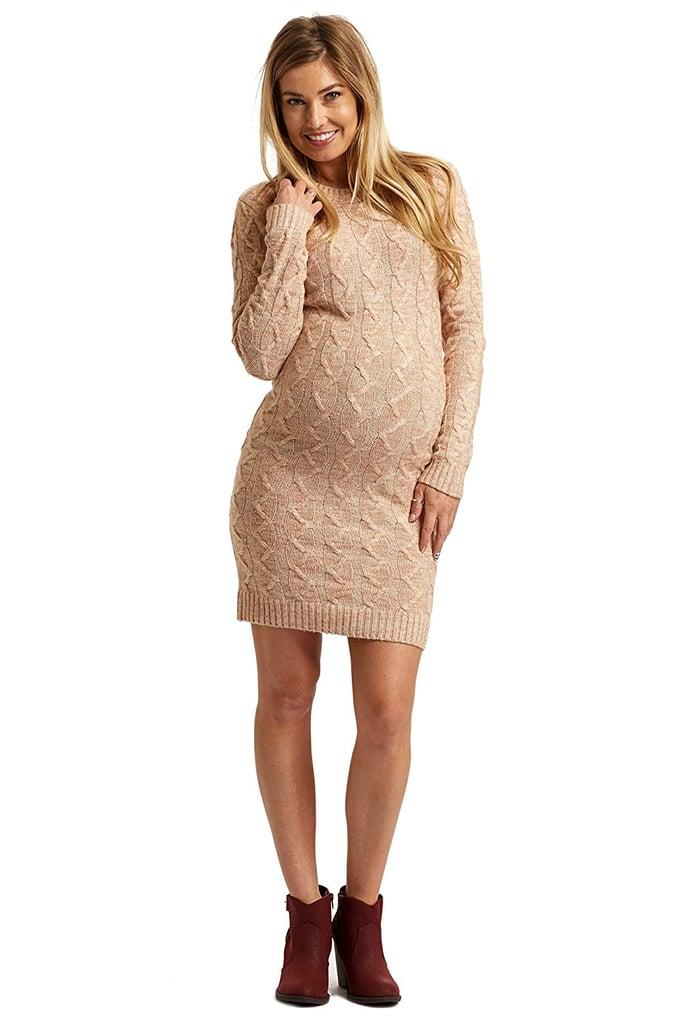 2daf9b551f4 PinkBlush Maternity Pale Pink Cable Knit Maternity Sweater Dress ...