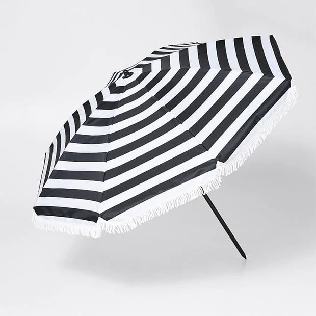 For small areas that need a little more shade. Tortuga Stripe Premium Beach Umbrella ($39)