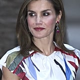 Queen Letizia's Juan Vidal Ikebana Print Dress August 2016