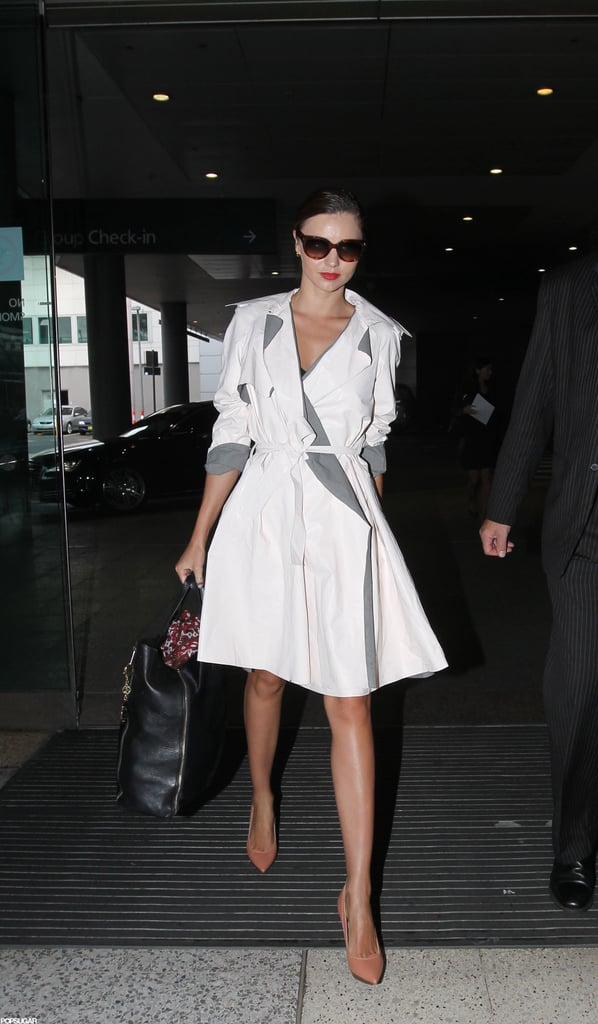 Miranda Kerr wore a trench coat.