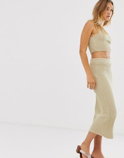 ASOS Design Two-Piece Rib Knit Midi Skirt