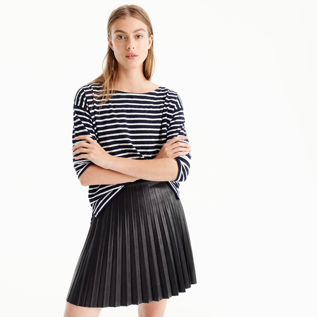 ef5732155da J.Crew Faux-Leather Pleated Miini Skirt