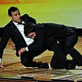 Jimmy Fallon and Jimmy Kimmel horsed around on stage at the 2011 Emmy Awards