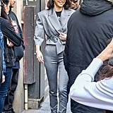 In Paris, Kendall styled this Carmen March suit with her Adidas Arkyn sneakers and Illesteva retro sunglasses.