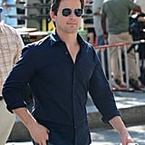 Matt Bomer filmed outdoor scenes for White Collar in New York.