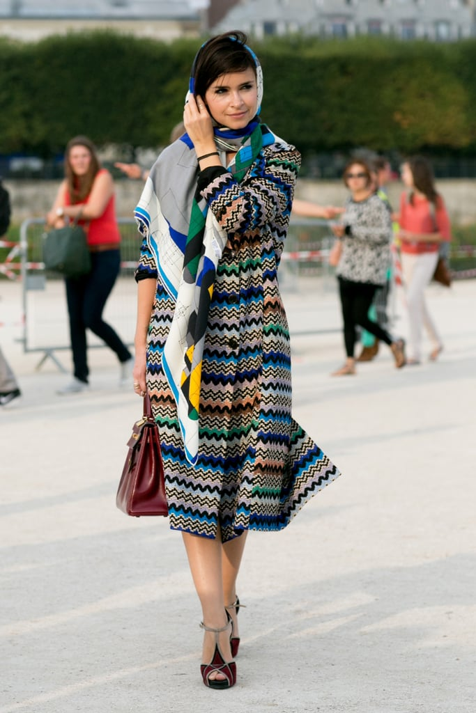 Miroslava Duma brought the color in a zigzag coat.