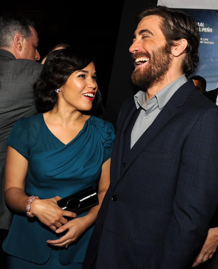 Jake Gyllenhaal had a laugh with America Ferrera at the End of Watch premiere in LA.