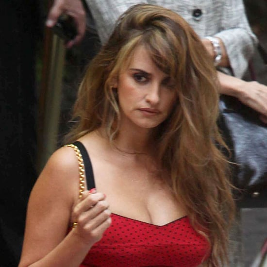 Penelope Cruz in a Sexy Red Dress on the Bop Decameron Set