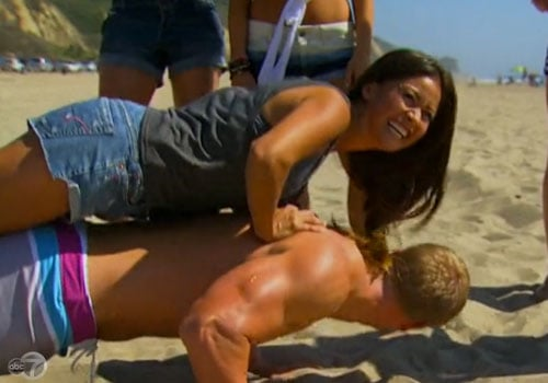 Sean showed off his push-up skills more than once by having Catherine hop on his back.