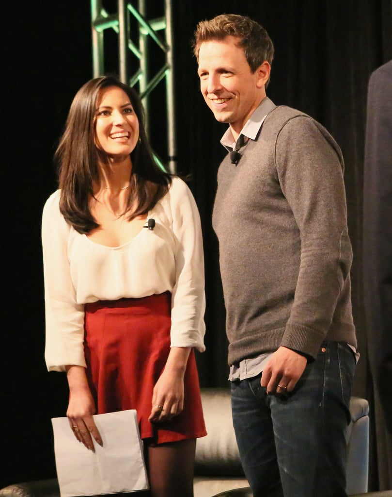 Olivia Munn and Seth Meyers took the stage together on Saturday.