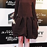 Emma Stone wore a brown dress to The Amazing Spider-Man premiere in Japan.