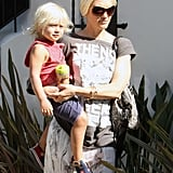 Zuma Rossdale joined his mom, Gwen Stefani, at the studio.