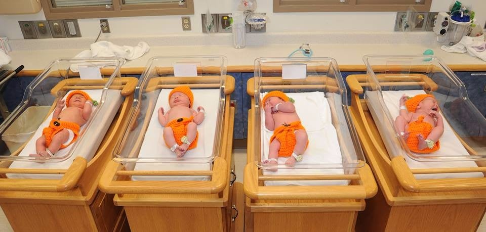 Babies in the Hospital Dressed Up as Pumpkins For Halloween