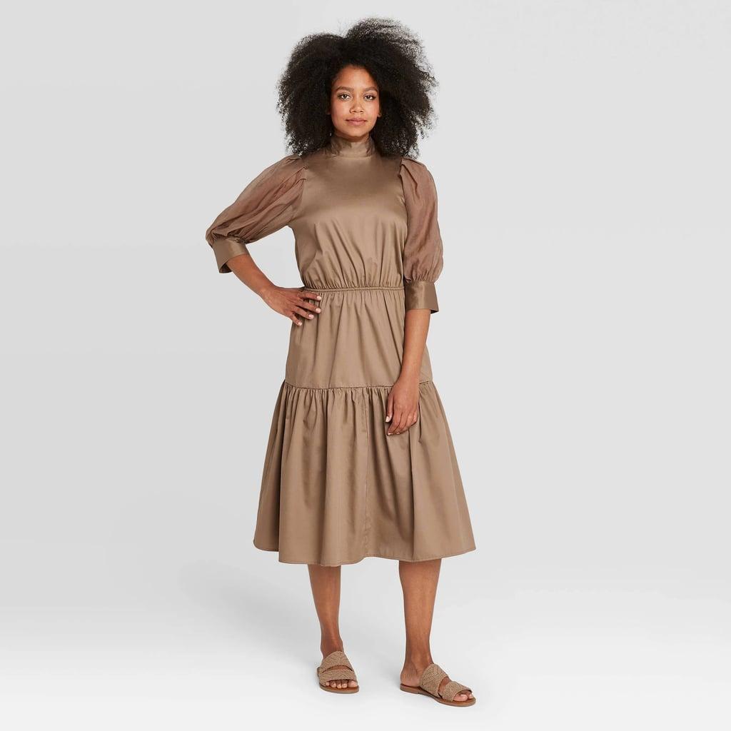 Organza Puff 3/4 Sleeve Dress