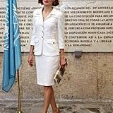 Queen Letizia's White Suit in 2015