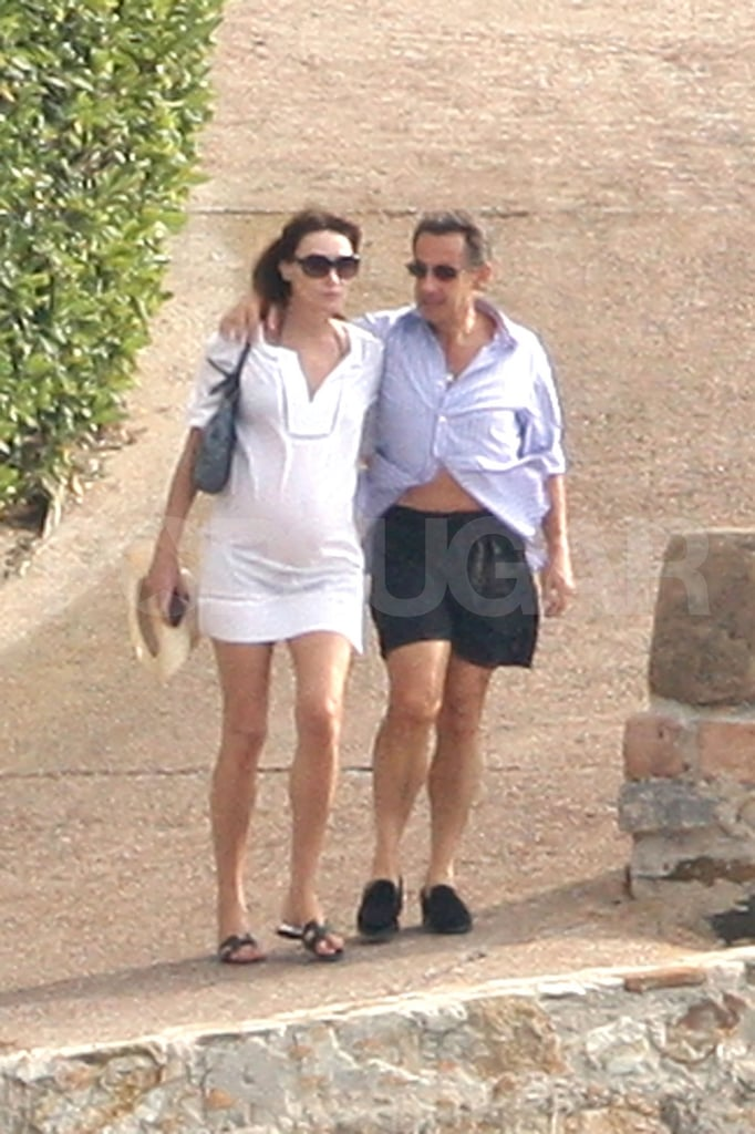 Pregnant Carla Bruni-Sarkozy and Nicolas Sarkozy spent the weekend in the South of France.