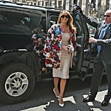 Melania Carrying a 3D Floral Dolce & Gabbana Clutch