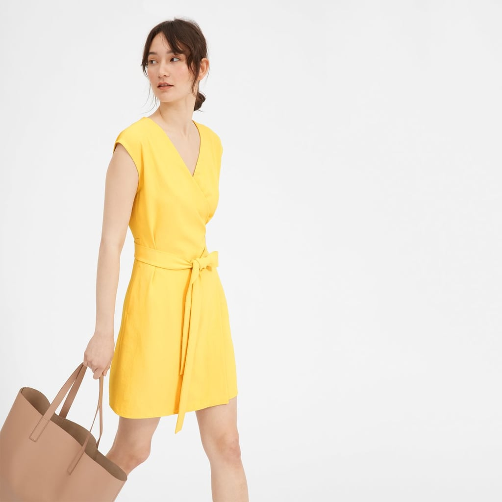 Everlane Japanese GoWeave Short-Sleeve Mini Wrap Dress