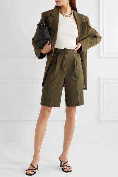 Frankie Shop Julie Pleated Gabardine Shorts