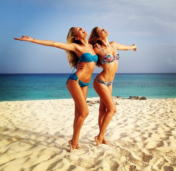 Candice Swanepoel and Doutzen Kroes flaunted their bikini bodies on Turks and Caicos.  Source: Instagram user angelcandices
