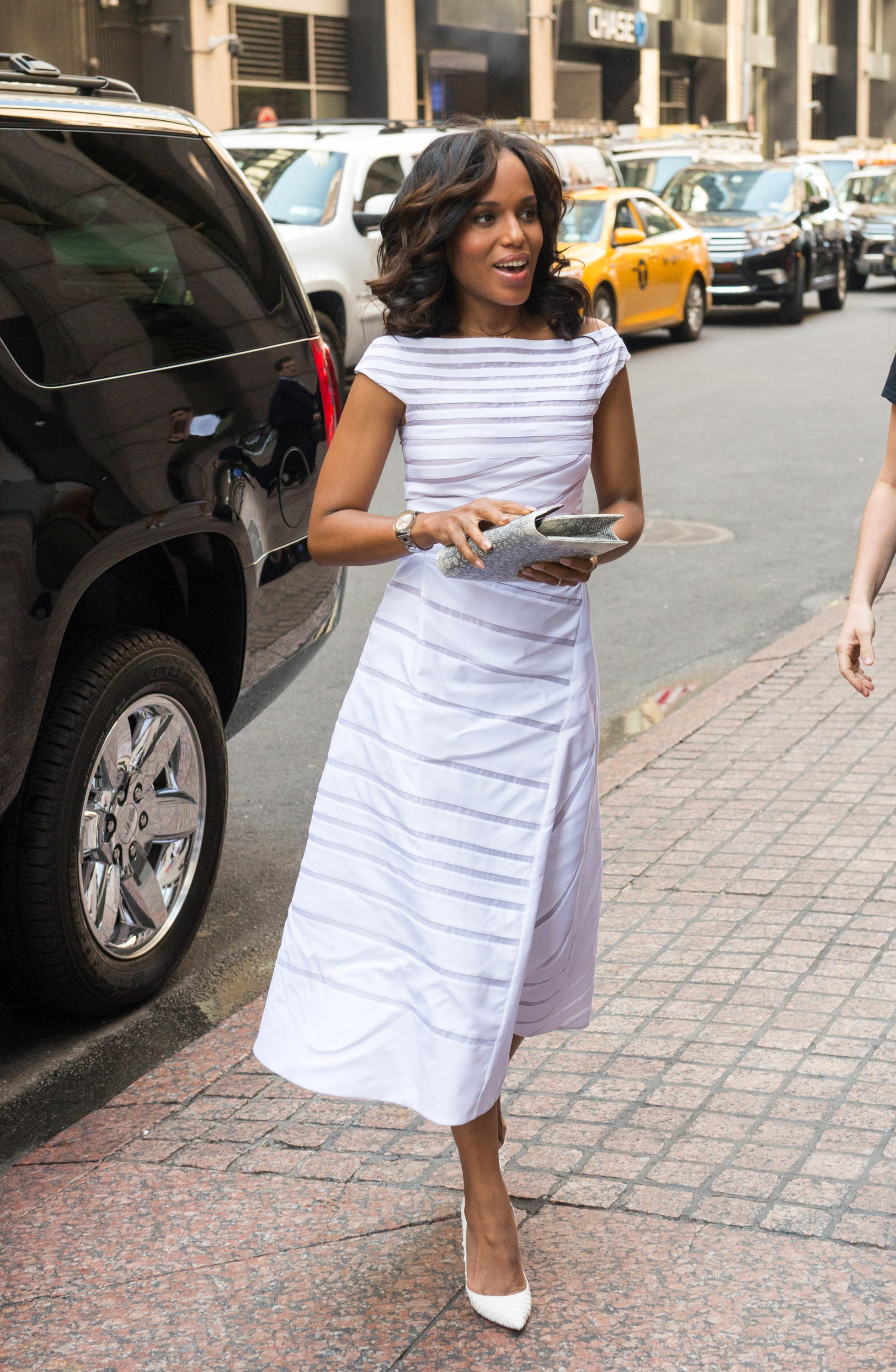 Washington was spotted at The Paley Center for Media in early October, wearing a whimsical white dress.