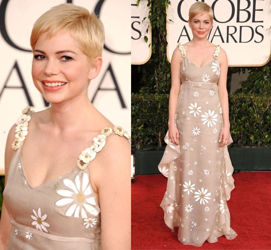 Michelle Williams in daisy covered Valentino at the 2011 Golden Globe Awards