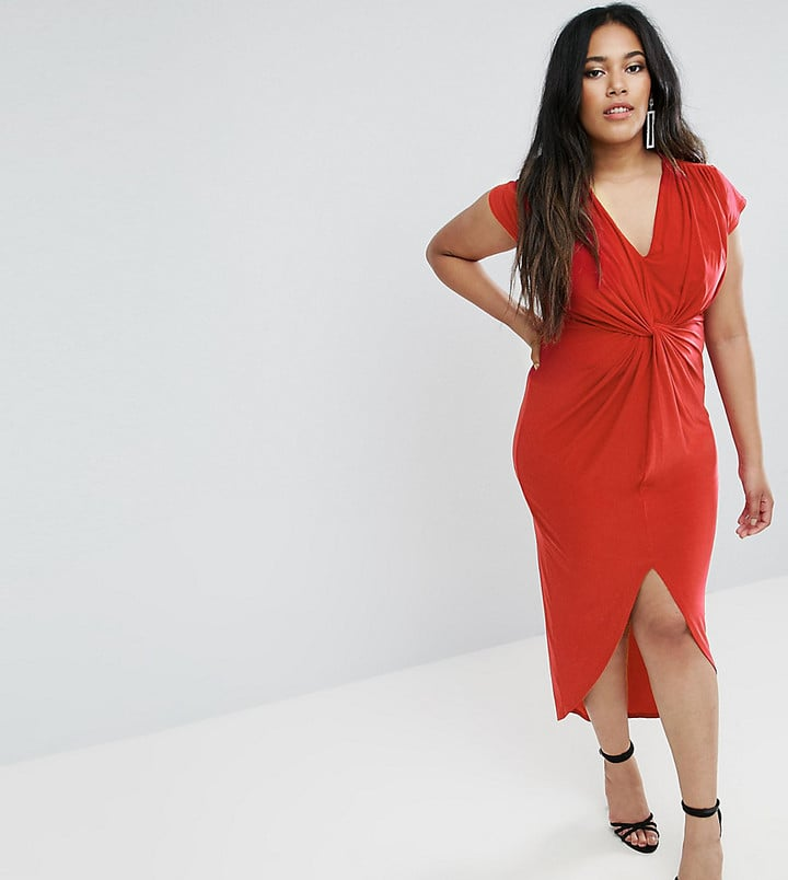 2aaff3f937ff Club L Plus Cap-Sleeve Knot Detail Midi Dress   Sexy Red Dresses For ...