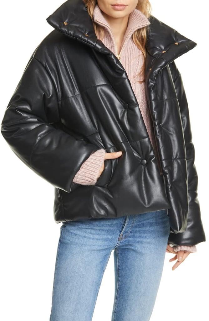 Nanushka Hide Faux Leather Puffer Jacket