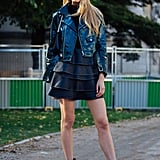 Romee Strijd Was Seen Wearing a Alpha Omega Leather Jacket With a Miniskirt and Dear Frances Ankle Boots