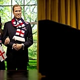 Wax Pince William and Kate got patriotic with England scarves and flags.