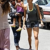 Halle Berry and daughter Nahla Aubry with friends.