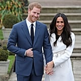 """Harry on introducing Meghan to his family: """"It was exciting! I'd been seeing her for a period of time when I literally didn't tell anybody at all, and then William was longing to meet her, and so was Catherine. They're our neighbors, so we've managed to get that in quite a few times now . . . Catherine's been absolutely amazing, as has William, as well, you know, a fantastic support.""""  Harry on the corgis' reaction to her: """"The corgis took to [her] straight away . . . I spent the last 33 years being barked at; this one walks in, absolutely nothing!""""  Harry on what Princess Diana would think of Meghan: """"They'd be thick as thieves, without question. And she would be over the moon, jumping up and down, so excited for me.""""  Harry on when he knew Meghan was """"the one"""": """"The very first time we met."""""""
