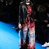 At Elie Saab, Kendall Wore a Colourful Dress Paired With a Leather Jacket and Choker