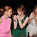 The Help's Jessica Chastain, Emma Stone, and Ahna O'Reilly laugh together at the show.