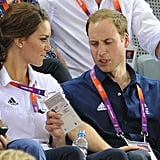 Prince William and Kate paused while watching cycling.