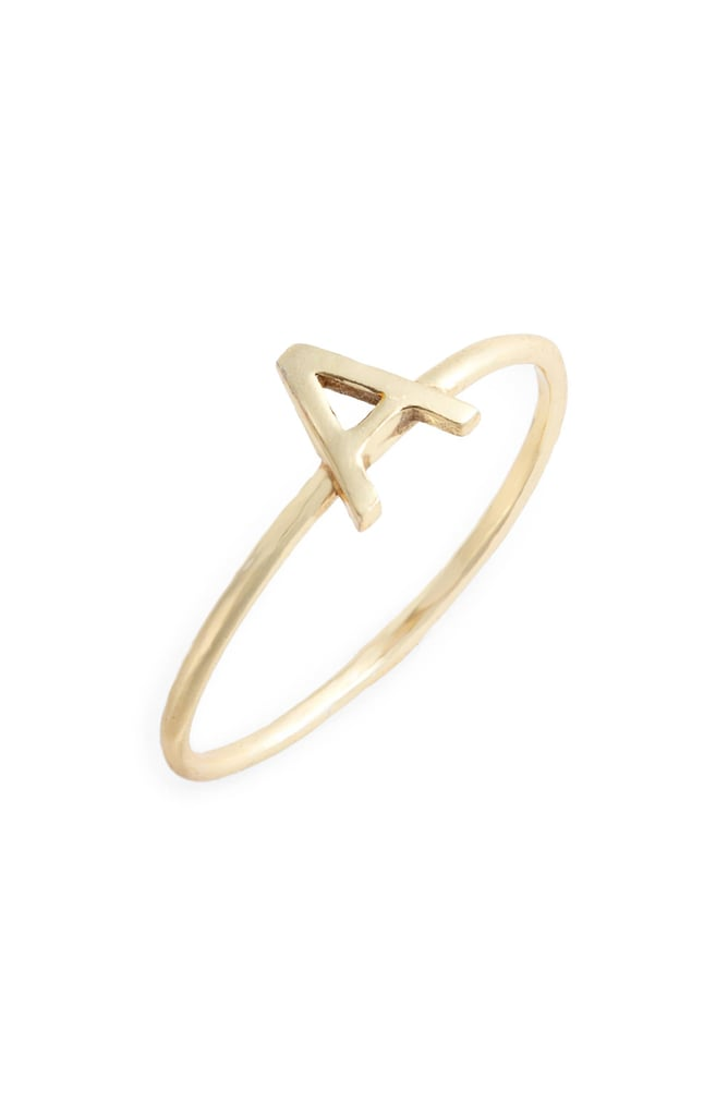 Sterling Silver Stackable Initial Letter Ring