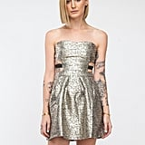Need Supply Co. Metallic Gold Strapless Dress