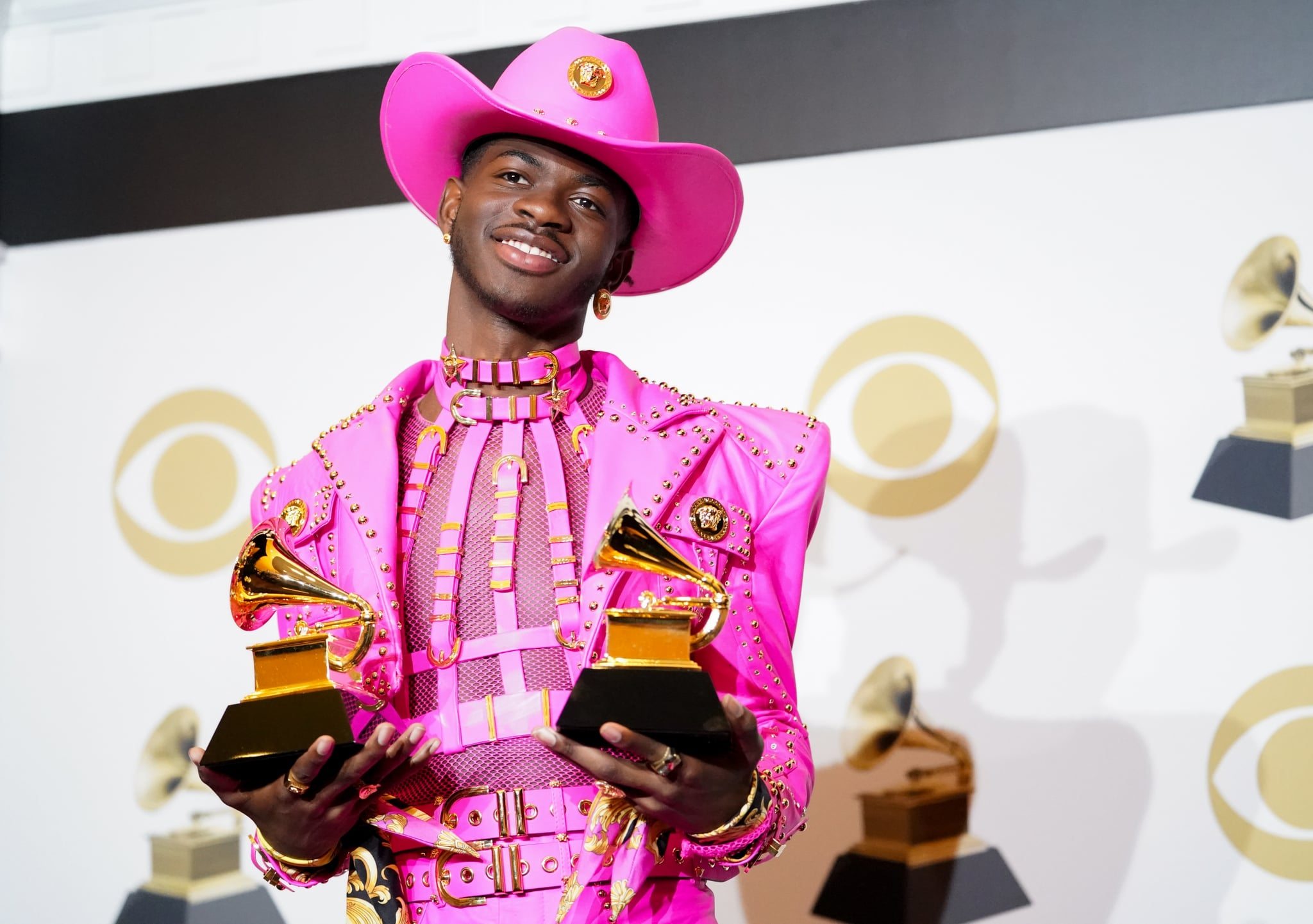 LOS ANGELES, CALIFORNIA - JANUARY 26: Lil Nas X poses in the press room with the awards for Best Music Video and Best Pop Duo/Group Performance during the 62nd Annual GRAMMY Awards at Staples Center on January 26, 2020 in Los Angeles, California. (Photo by Rachel Luna/FilmMagic)