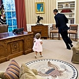 When he ran around the Oval Office with the daughter of his security team member
