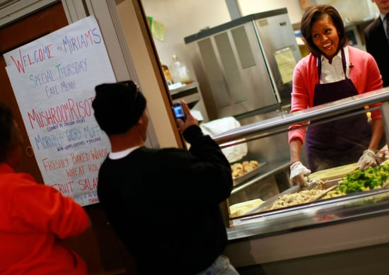 Michelle Obama Volunteers at DC Soup Kitchen