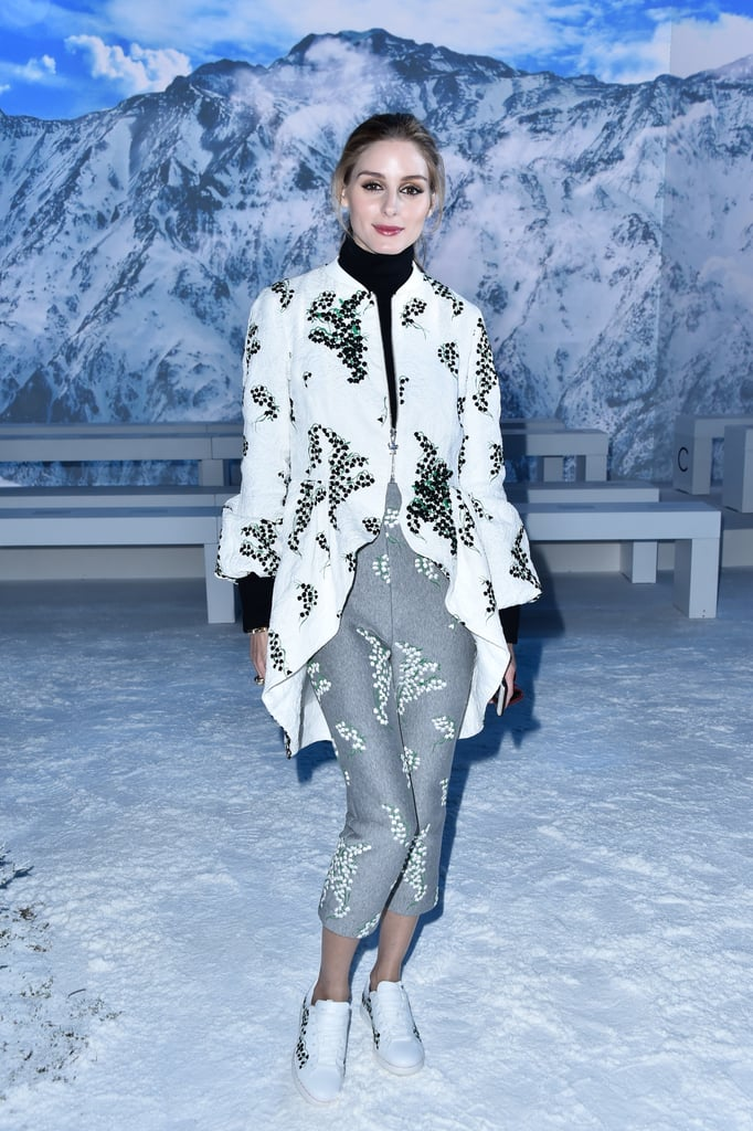 At Moncler Gamme Rouge, Olivia switched things up in a mixed-prints look and sneakers.