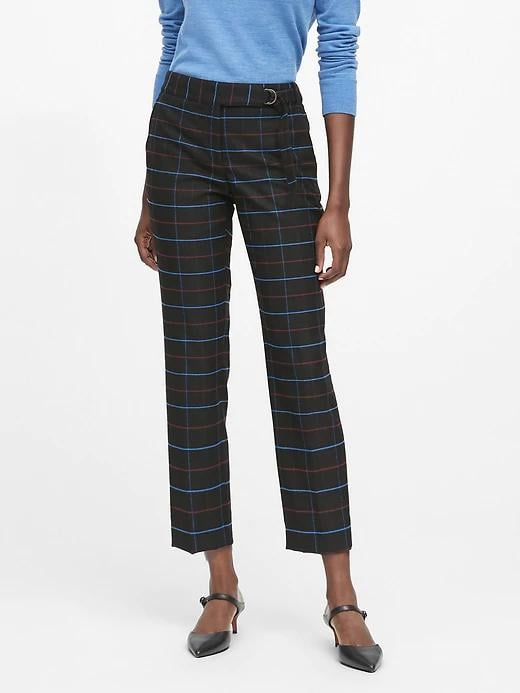 Avery Straight-Fit Plaid Pant