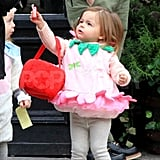 Tabitha Broderick reached for a piece of candy on Halloween.