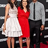 Zoe Saldana posed with Victor Cruz and editor-in-chief of Cosmopolitan for Latinas Michelle Herrera Mulligan in NYC.
