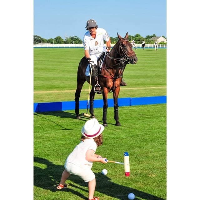 Skyler Berman practiced his polo moves with the professionals in the Hamptons. Source: Instagram user rachelzoe