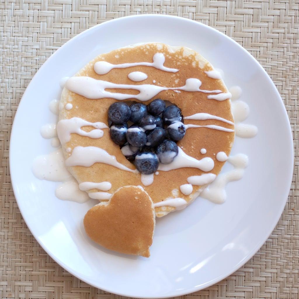 Heart Pancakes With Greek Yogurt/Maple Syrup Sauce