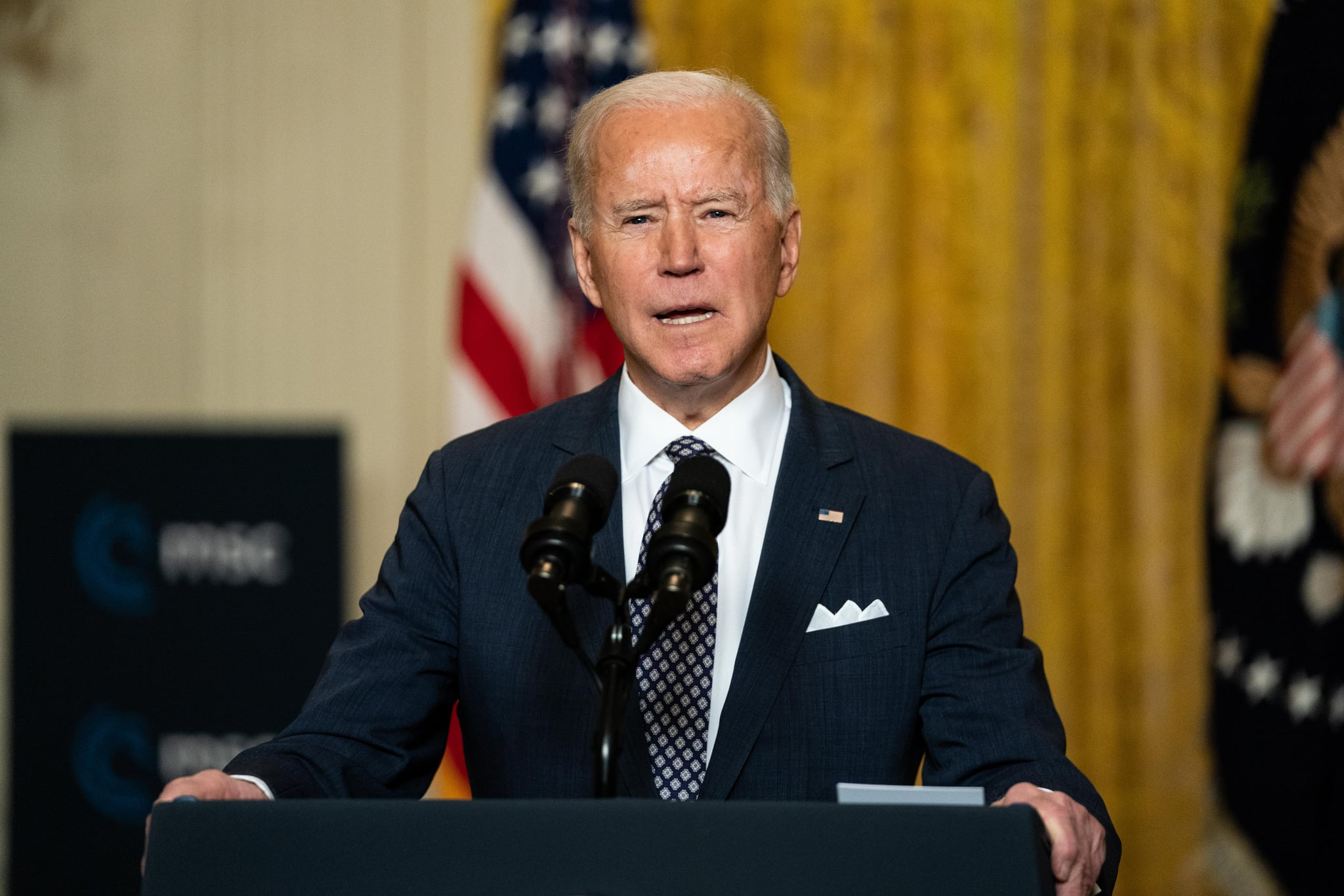 WASHINGTON, DC - FEBRUARY 19: U.S. President Joe Biden delivers remarks at a virtual event hosted by the Munich Security Conference in the East Room of the White House on February 19, 2021 in Washington, DC. In his remarks, President Biden stressed the United States' commitment to NATO after four years of the Trump administration undermining the alliance. (Photo by Anna Moneymaker-Pool/Getty Images)