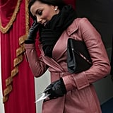 Eva Longoria looked flawless in pink leather Monday morning before the presidential inauguration.